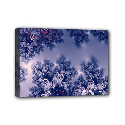 Pink and Blue Morning Frost Fractal Mini Canvas 7  x 5  (Framed)