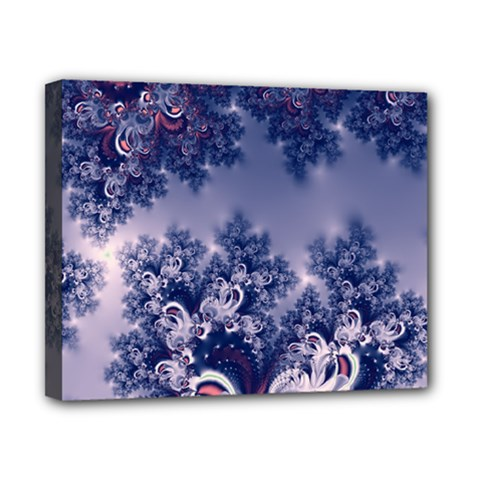 Pink And Blue Morning Frost Fractal Canvas 10  X 8  (framed)
