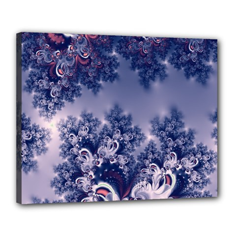 Pink and Blue Morning Frost Fractal Canvas 20  x 16  (Framed)