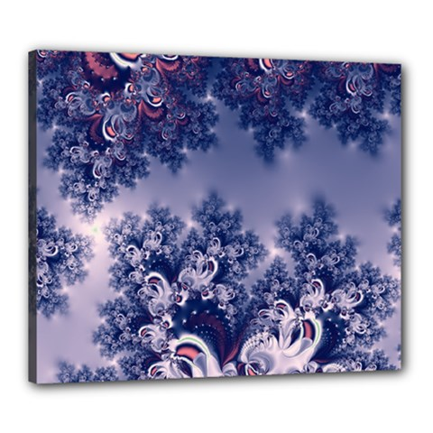 Pink and Blue Morning Frost Fractal Canvas 24  x 20  (Framed)