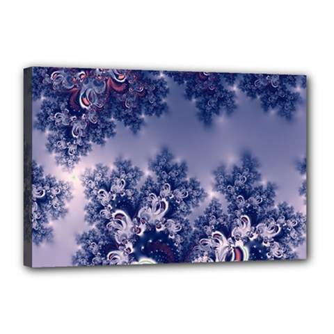 Pink And Blue Morning Frost Fractal Canvas 18  X 12  (framed)