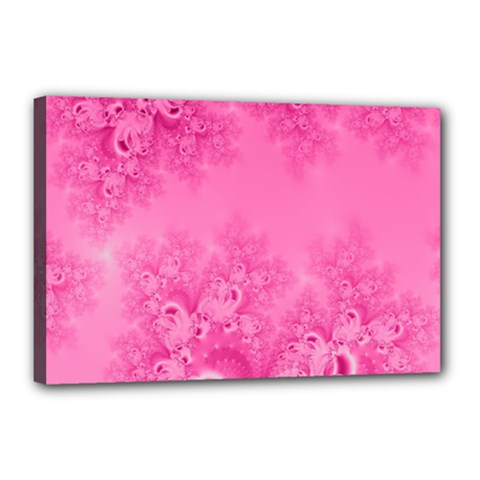 Soft Pink Frost Of Morning Fractal Canvas 18  X 12  (framed)