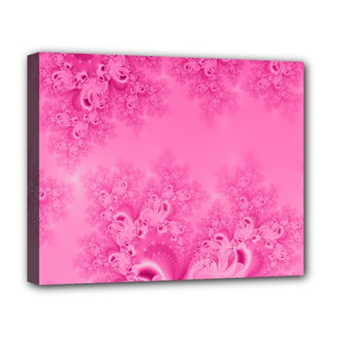 Soft Pink Frost of Morning Fractal Deluxe Canvas 20  x 16  (Framed)