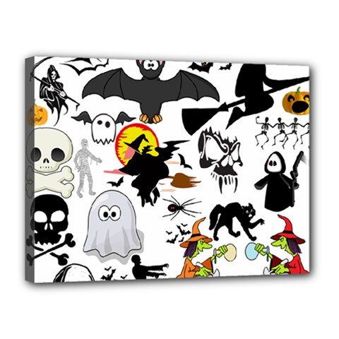 Halloween Mashup Canvas 16  X 12  (framed)