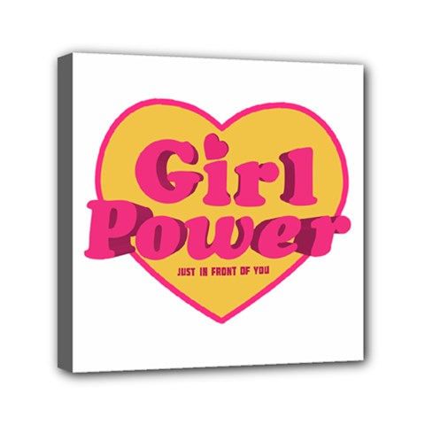 Girl Power Heart Shaped Typographic Design Quote Mini Canvas 6  x 6  (Framed)