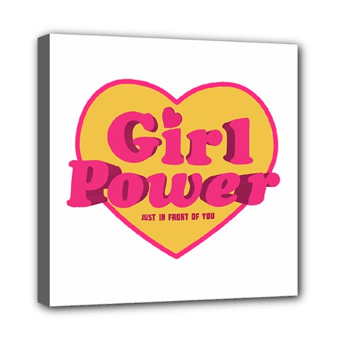 Girl Power Heart Shaped Typographic Design Quote Mini Canvas 8  X 8  (framed)