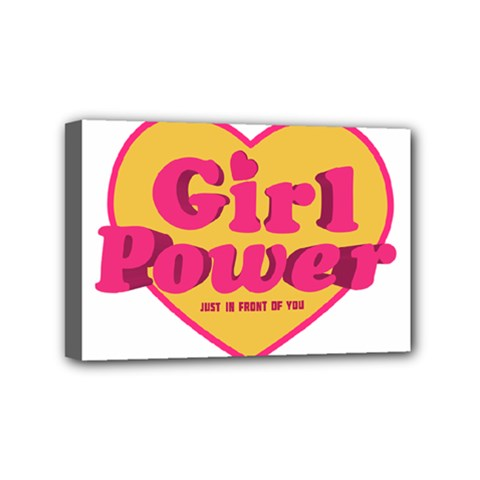 Girl Power Heart Shaped Typographic Design Quote Mini Canvas 6  X 4  (framed)