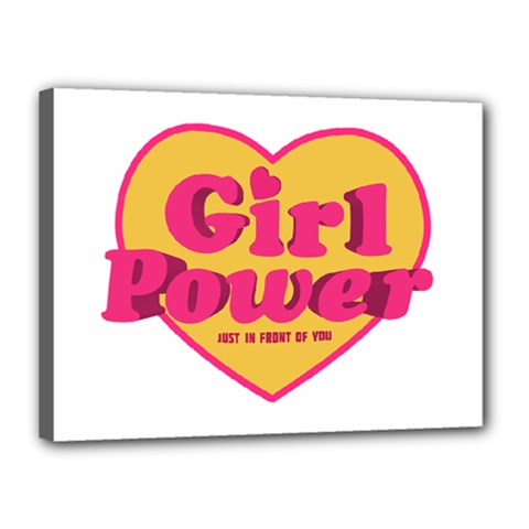 Girl Power Heart Shaped Typographic Design Quote Canvas 16  X 12  (framed)