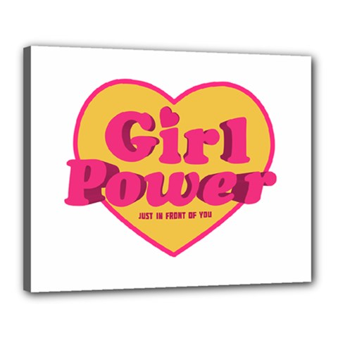 Girl Power Heart Shaped Typographic Design Quote Canvas 20  x 16  (Framed)