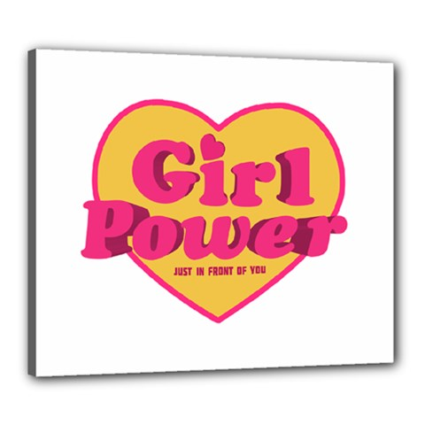 Girl Power Heart Shaped Typographic Design Quote Canvas 24  X 20  (framed)