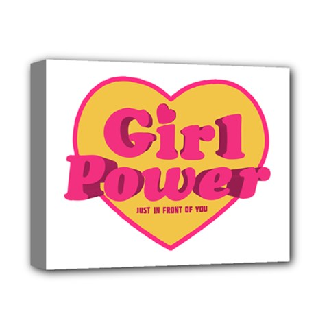 Girl Power Heart Shaped Typographic Design Quote Deluxe Canvas 14  x 11  (Framed)