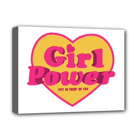 Girl Power Heart Shaped Typographic Design Quote Deluxe Canvas 16  X 12  (framed)