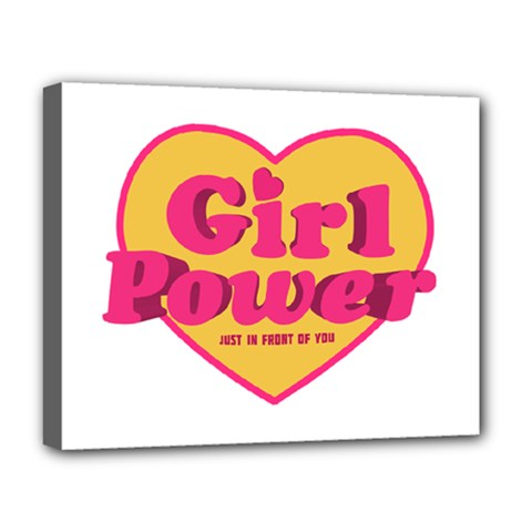 Girl Power Heart Shaped Typographic Design Quote Deluxe Canvas 20  X 16  (framed)