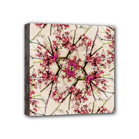 Red Deco Geometric Nature Collage Floral Motif Mini Canvas 4  X 4  (framed)