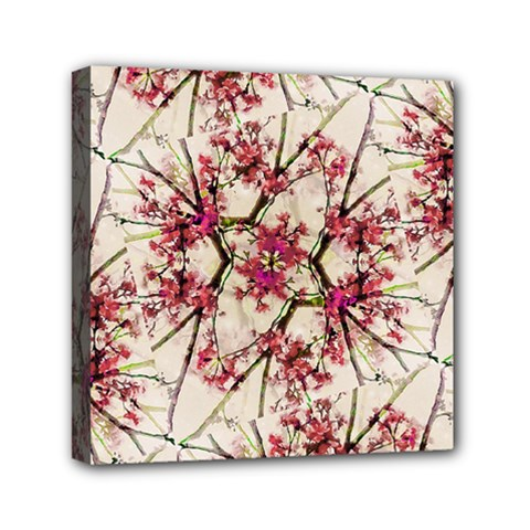 Red Deco Geometric Nature Collage Floral Motif Mini Canvas 6  X 6  (framed)