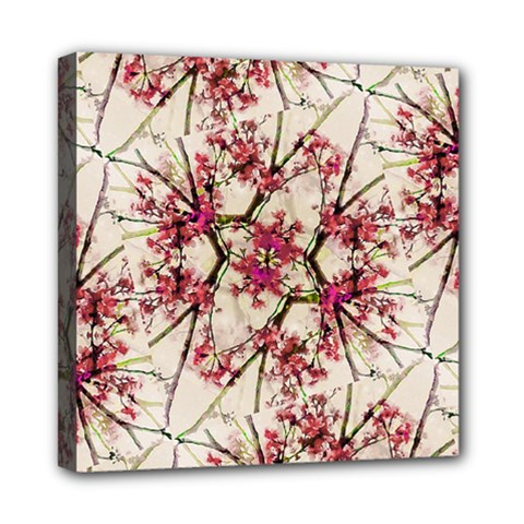 Red Deco Geometric Nature Collage Floral Motif Mini Canvas 8  X 8  (framed)