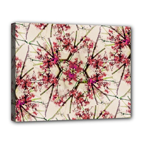 Red Deco Geometric Nature Collage Floral Motif Canvas 14  x 11  (Framed)