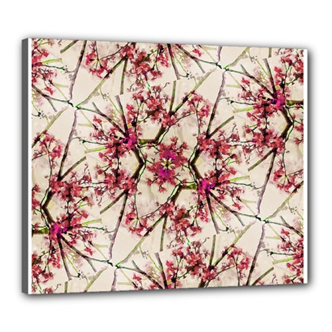 Red Deco Geometric Nature Collage Floral Motif Canvas 24  X 20  (framed)