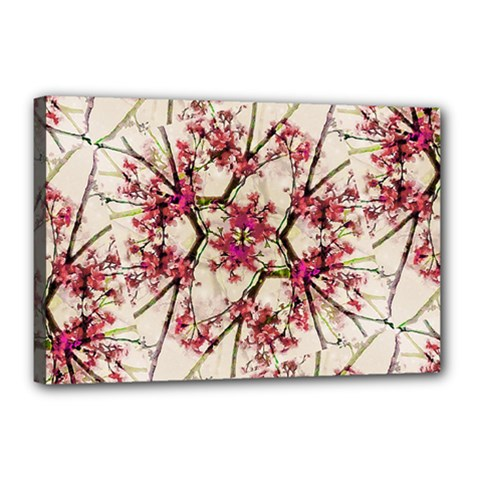 Red Deco Geometric Nature Collage Floral Motif Canvas 18  X 12  (framed)
