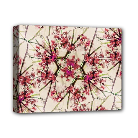 Red Deco Geometric Nature Collage Floral Motif Deluxe Canvas 14  X 11  (framed)