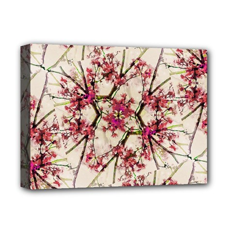 Red Deco Geometric Nature Collage Floral Motif Deluxe Canvas 16  X 12  (framed)