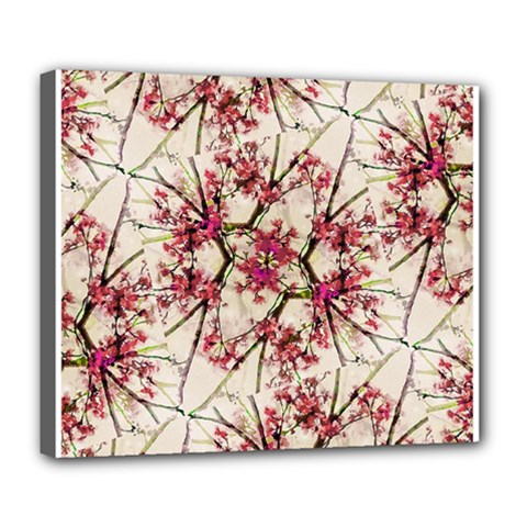 Red Deco Geometric Nature Collage Floral Motif Deluxe Canvas 24  x 20  (Framed)
