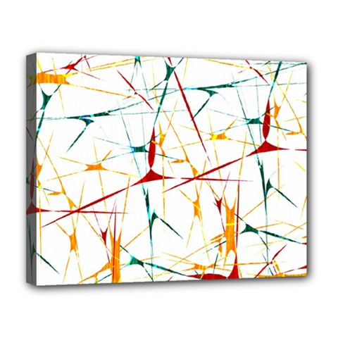 Colorful Splatter Abstract Shapes Canvas 14  x 11  (Framed)