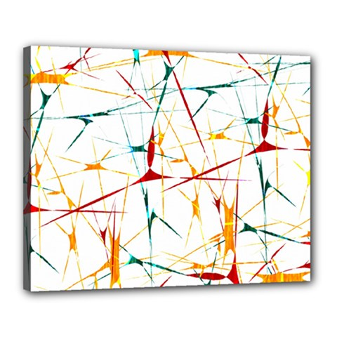 Colorful Splatter Abstract Shapes Canvas 20  X 16  (framed)