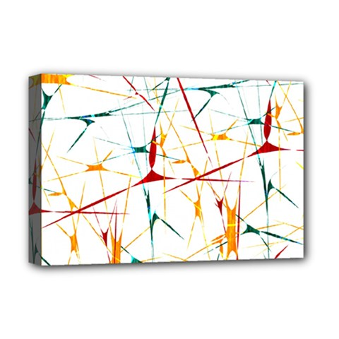 Colorful Splatter Abstract Shapes Deluxe Canvas 18  X 12  (framed)