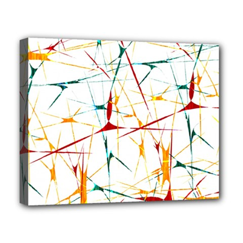 Colorful Splatter Abstract Shapes Deluxe Canvas 20  X 16  (framed)
