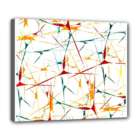 Colorful Splatter Abstract Shapes Deluxe Canvas 24  X 20  (framed)