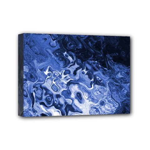 Blue Waves Abstract Art Mini Canvas 7  X 5  (framed)
