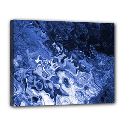 Blue Waves Abstract Art Canvas 14  X 11  (framed)