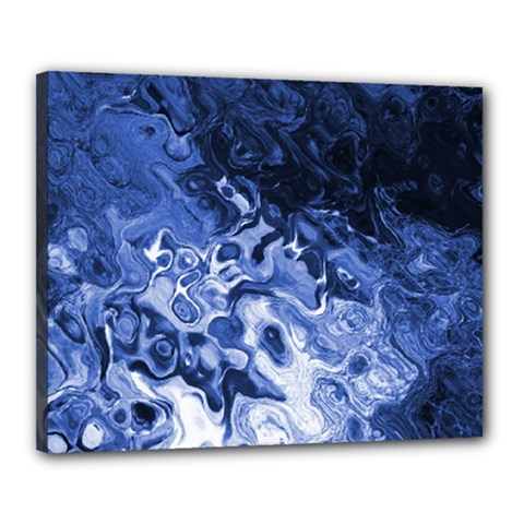 Blue Waves Abstract Art Canvas 20  X 16  (framed)