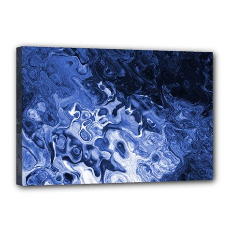 Blue Waves Abstract Art Canvas 18  X 12  (framed)
