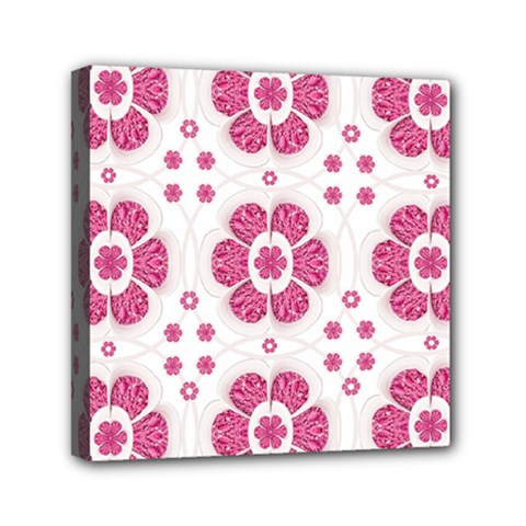 Sweety Pink Floral Pattern Mini Canvas 6  X 6  (framed)