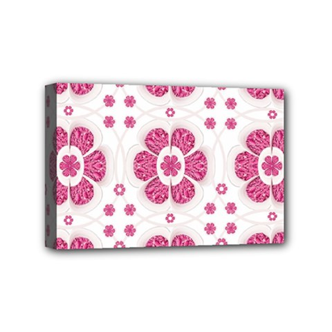 Sweety Pink Floral Pattern Mini Canvas 6  X 4  (framed)