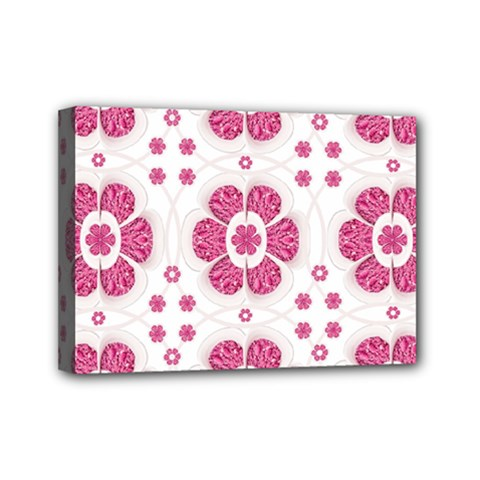 Sweety Pink Floral Pattern Mini Canvas 7  X 5  (framed)