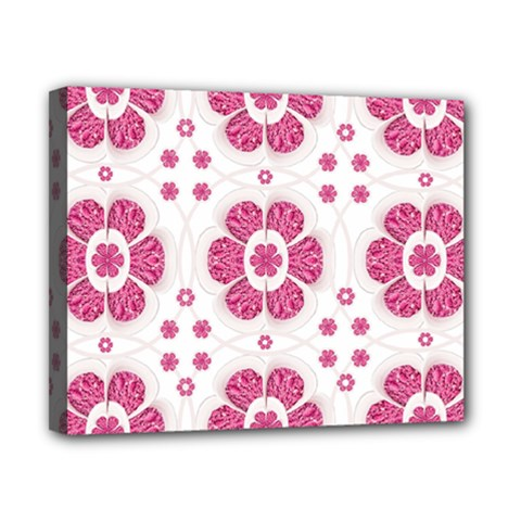 Sweety Pink Floral Pattern Canvas 10  X 8  (framed)
