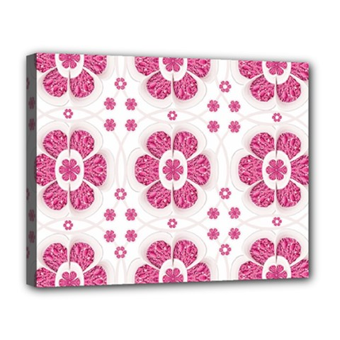Sweety Pink Floral Pattern Canvas 14  x 11  (Framed)