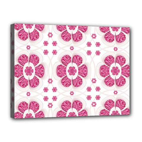 Sweety Pink Floral Pattern Canvas 16  x 12  (Framed)