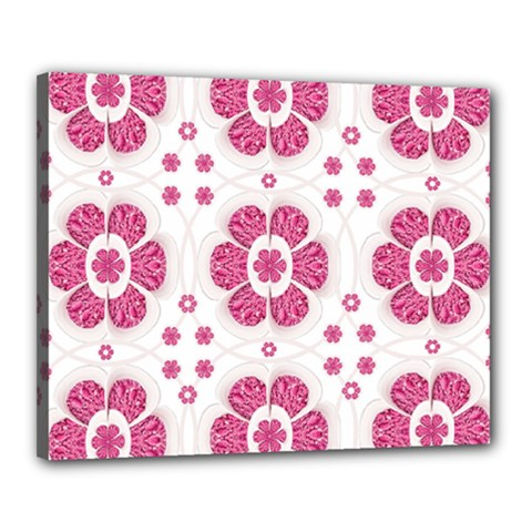 Sweety Pink Floral Pattern Canvas 20  X 16  (framed)