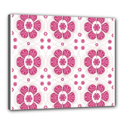 Sweety Pink Floral Pattern Canvas 24  x 20  (Framed)