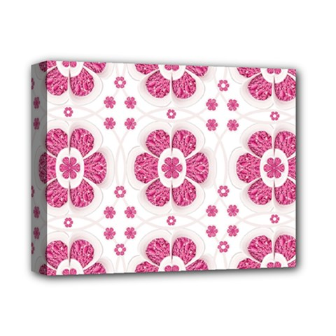 Sweety Pink Floral Pattern Deluxe Canvas 14  X 11  (framed)
