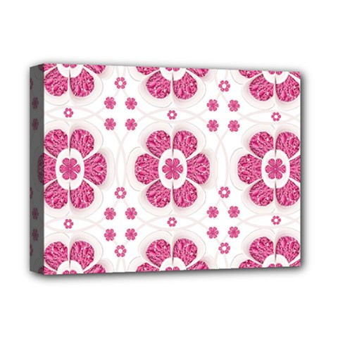 Sweety Pink Floral Pattern Deluxe Canvas 16  X 12  (framed)