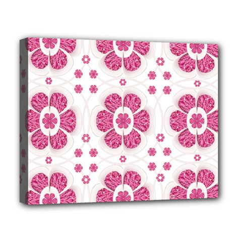 Sweety Pink Floral Pattern Deluxe Canvas 20  x 16  (Framed)
