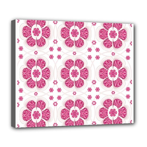 Sweety Pink Floral Pattern Deluxe Canvas 24  x 20  (Framed)