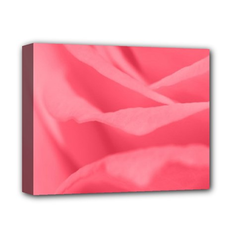 Pink Silk Effect  Deluxe Canvas 14  x 11  (Framed)