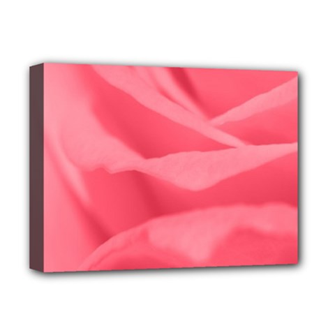 Pink Silk Effect  Deluxe Canvas 16  X 12  (framed)