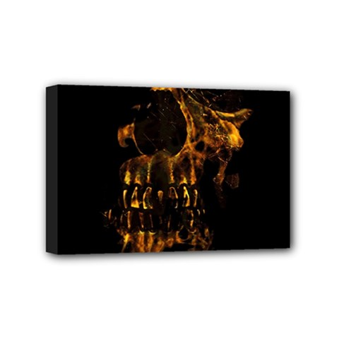 Skull Burning Digital Collage Illustration Mini Canvas 6  x 4  (Framed)